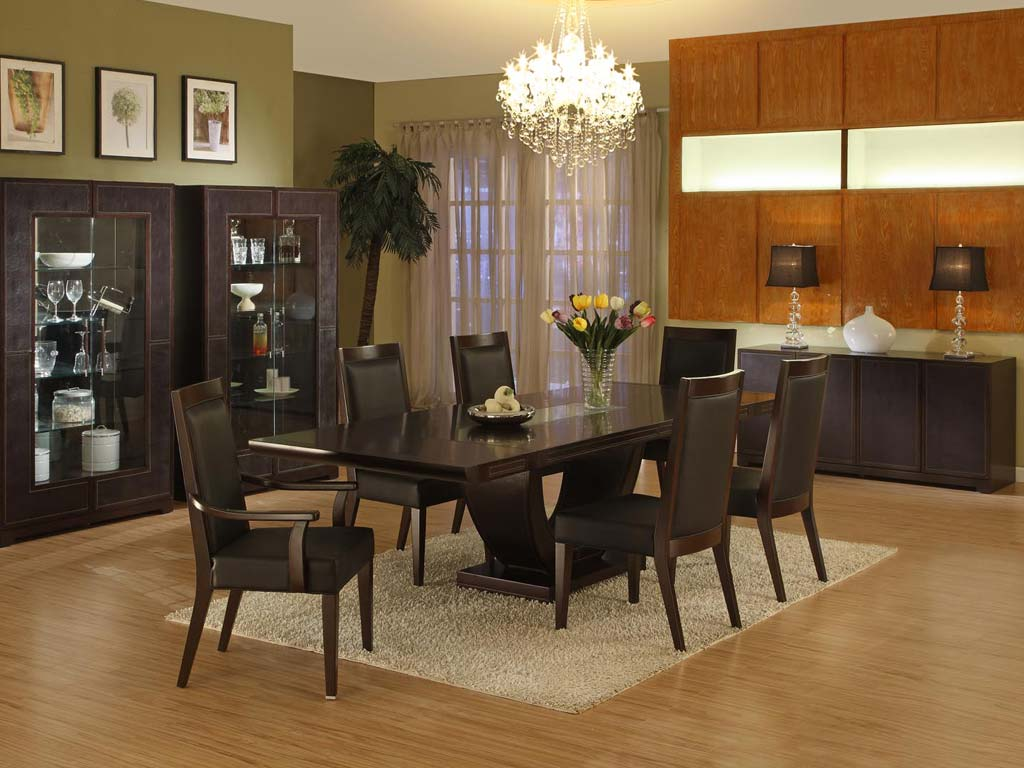 Modern furniture collection leather dining room for Leather dining room sets