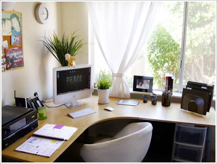 Home office design corner desk pictures 01 Office desk decoration ideas