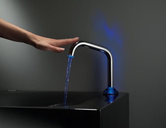Modern Semi-Automatic Faucet With Touch Sensor and LED Light