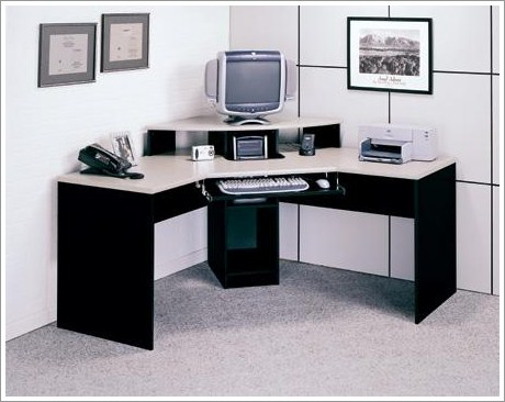 interesting home office design corner desk pictures 01 homeexteriorinterior | Contemporary Elements Corner Desk - Finished in Black and ...