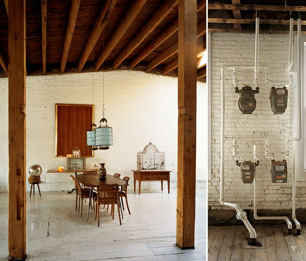 Left: the two wooden columns frame the dining room. The lamps that hang over the table originate from China. The chrome ball is really a work of Marco Pasanella. Right: the old counters hanging from original hoses repainted in white.